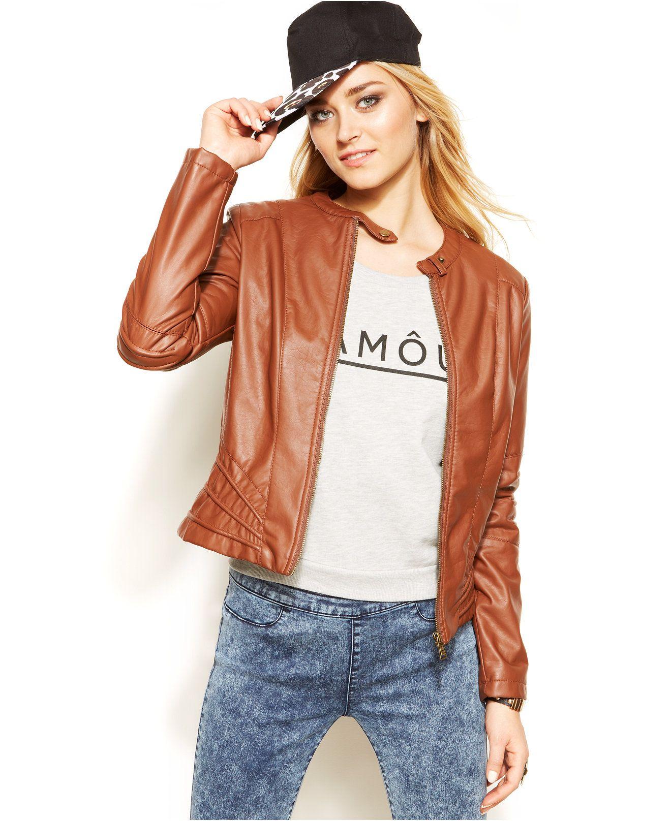 Jou Jou FauxLeather Moto Jacket Leather jackets women