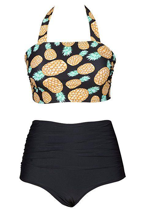 974ac9fcf32f0 Cupshe Fashion Women s Pineapple Printing High-waisted Halter Padding  Bikini Set (L)