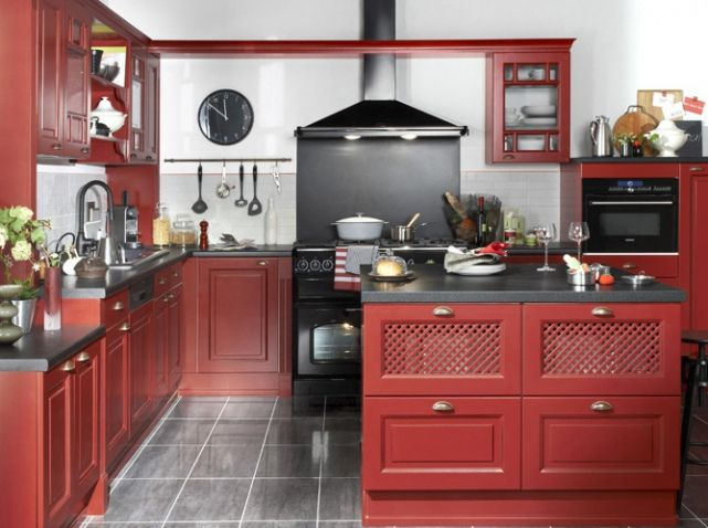 Cuisine bistrot rouge cozinhas pinterest kitchen for Deco cuisine rouge