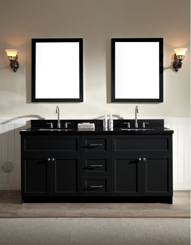 Ariel F073d Ab Double Sink Vanity Black Vanity Bathroom Vanity Sink