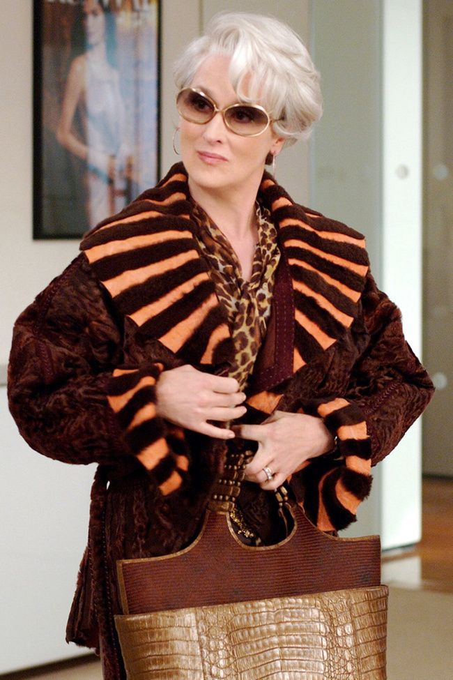 "Meryl Streep como Miranda Priestly. Film "" the Devil Wears Prada ""El diablo viste de Prada""/2006) diseño de vestuario Patricia Field."