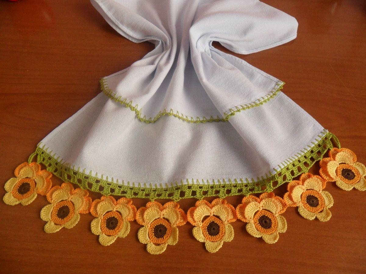Pano De Prato Amor Perfeito Amarelo Croche Pano De Prato Panos