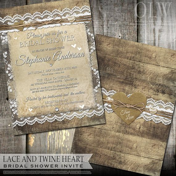 Rustic Lace Bridal Shower Invitation For That Country Style Party Features Barn Wood Background