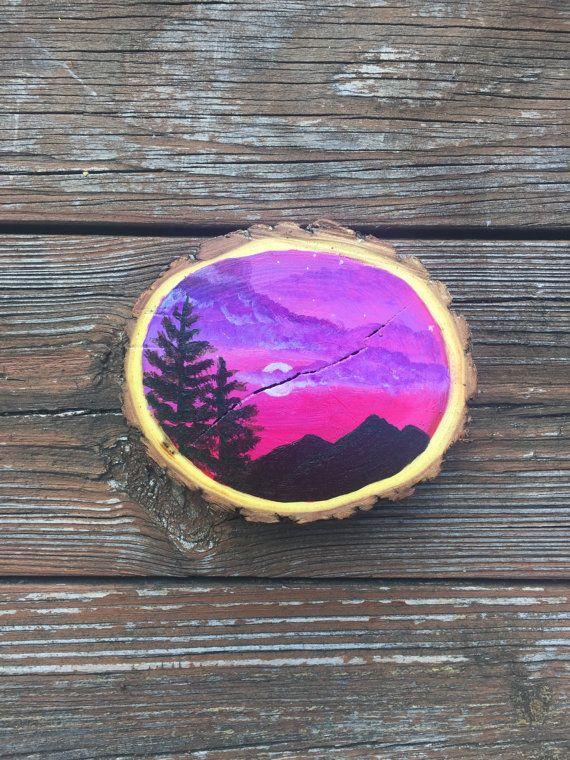 Moonlight Painted Wood Slice Farmhouse Decor Rustic