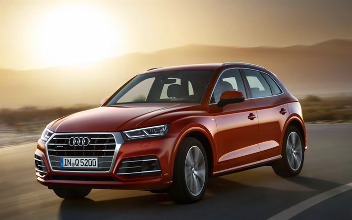 Download Wallpapers Audi Q5 2018 4k New Suv Red Q5 Road