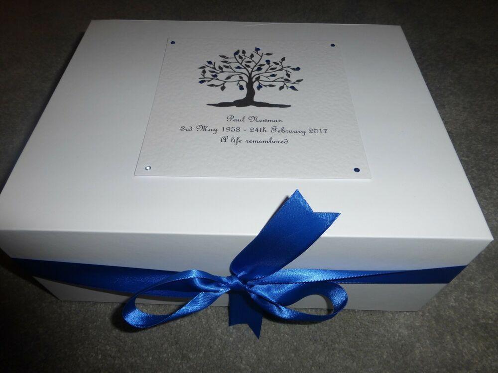 Condolence Bereavement Large Personalised Keepsake Box Memory Box Funeral purple