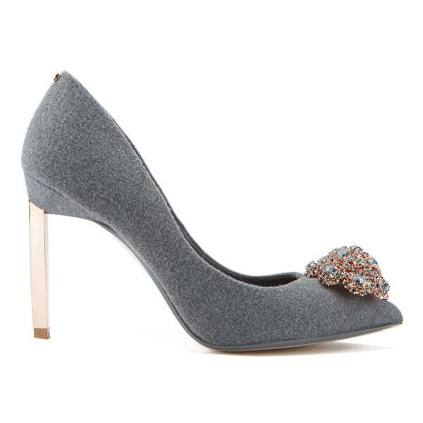 Ted Baker Women's Peetch Crystal Brooch Toe Court Shoes (£140) ❤ liked on Polyvore featuring shoes, pumps, grey, crystal pumps, high heel stilettos, stilettos shoes, high heel shoes and pointed toe high heels stilettos