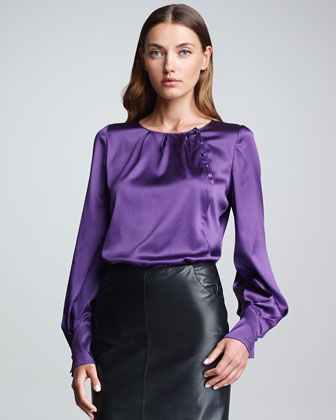 e89f172649fd93 Asymmetric-Button Blouse