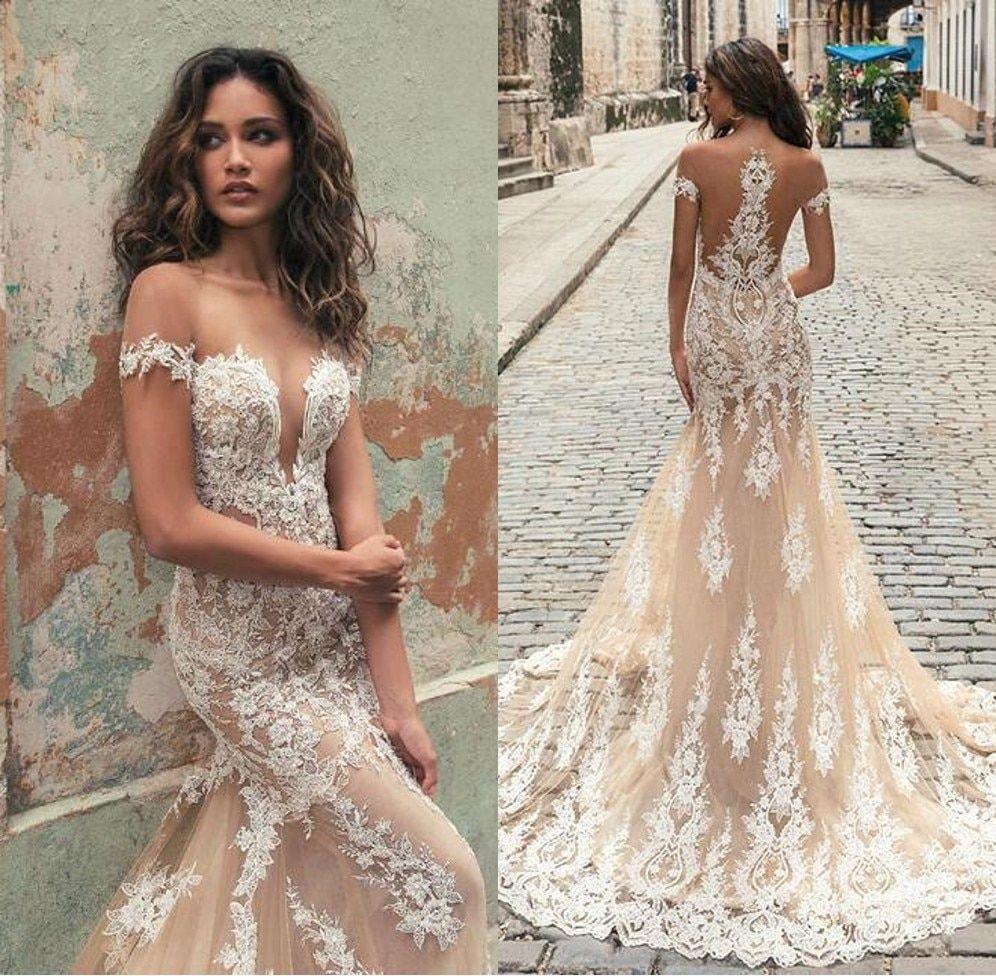 Vestido De Noiva Illusion Back Mermaid Champagne Lace Wedding Dresses 2019 Off T Champagne Wedding Dress Lace Illusion Wedding Dress Lace Wedding Dress Vintage [ 976 x 996 Pixel ]