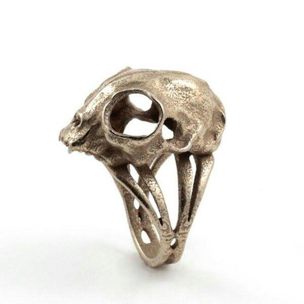 Pin By Ernie Arroyo On Rings Skull Skull Ring Cat