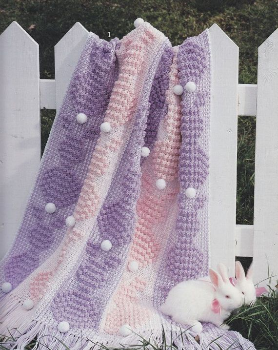❤❤❤ EASTER BUNNY AFGHAN ❤❤❤ Sweet! A cozy blanket design was published by Leisure Arts pattern booklet in 1997 - 5 more design patterns to choose from. Easy ~ Crochet Baby Blanket / Afghan