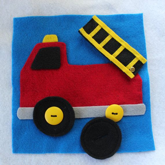 Custom Quiet Book Page Firetruck Single By