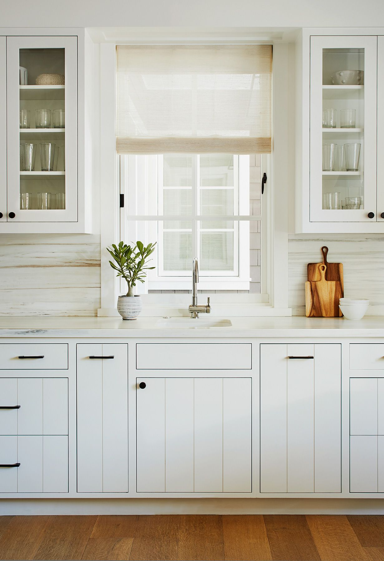 White Tongue And Groove On The Cabinetry Inset Cabinetry White Kitchen Cabinets With Elegant Kitchen Decor Small Kitchen Renovations Glass Kitchen Cabinets