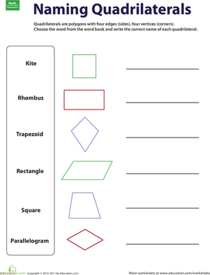 Worksheets Special Quadrilaterals Worksheet naming quadrilaterals for kids line and third grade geometry worksheets quadrilaterals
