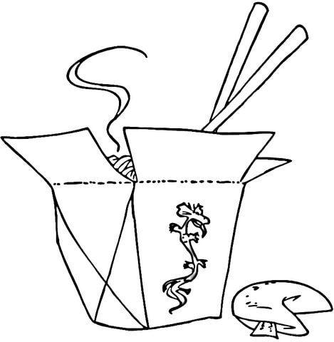 Comida China con Palitos Dibujo para colorear | Proyectos que ...