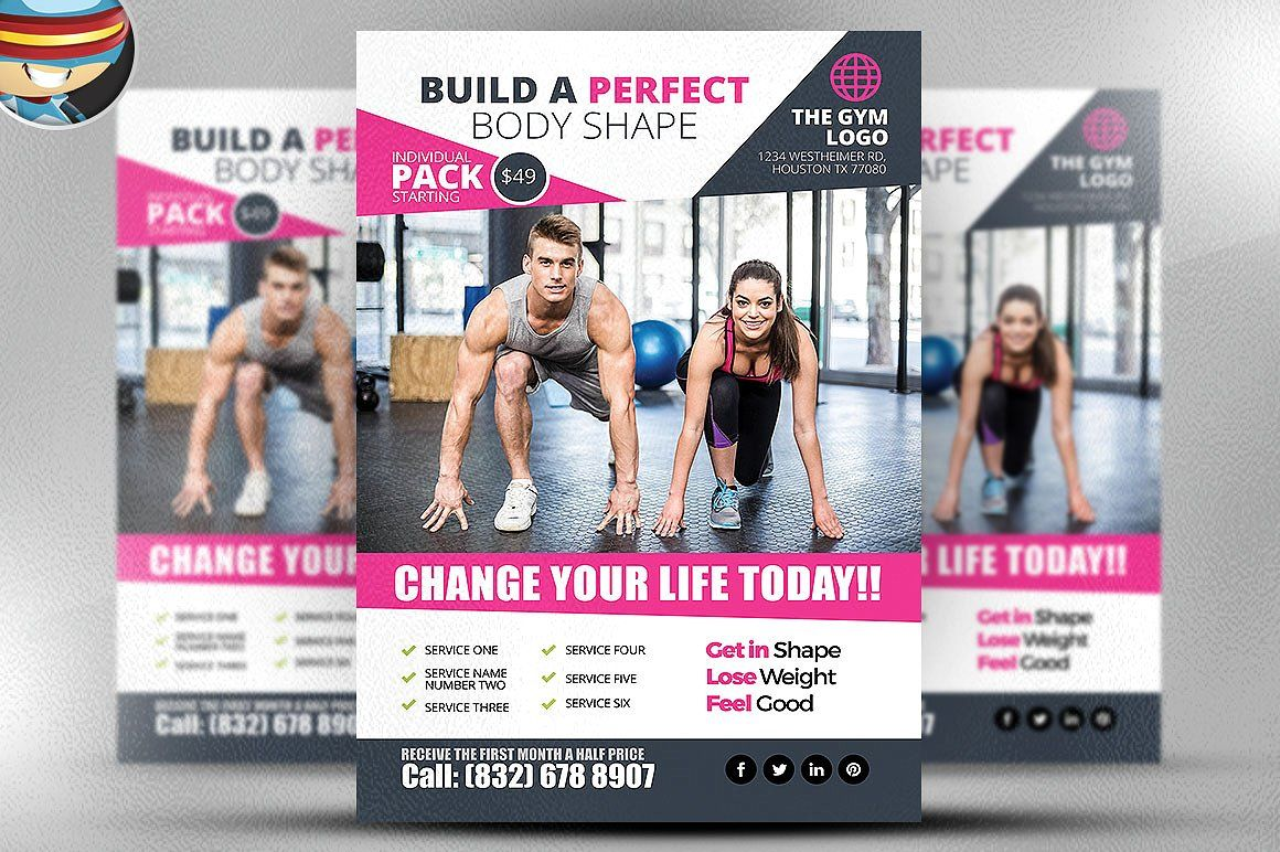 Gym Flyer Template 2 By Flyerheroes On Creativemarket Fitness