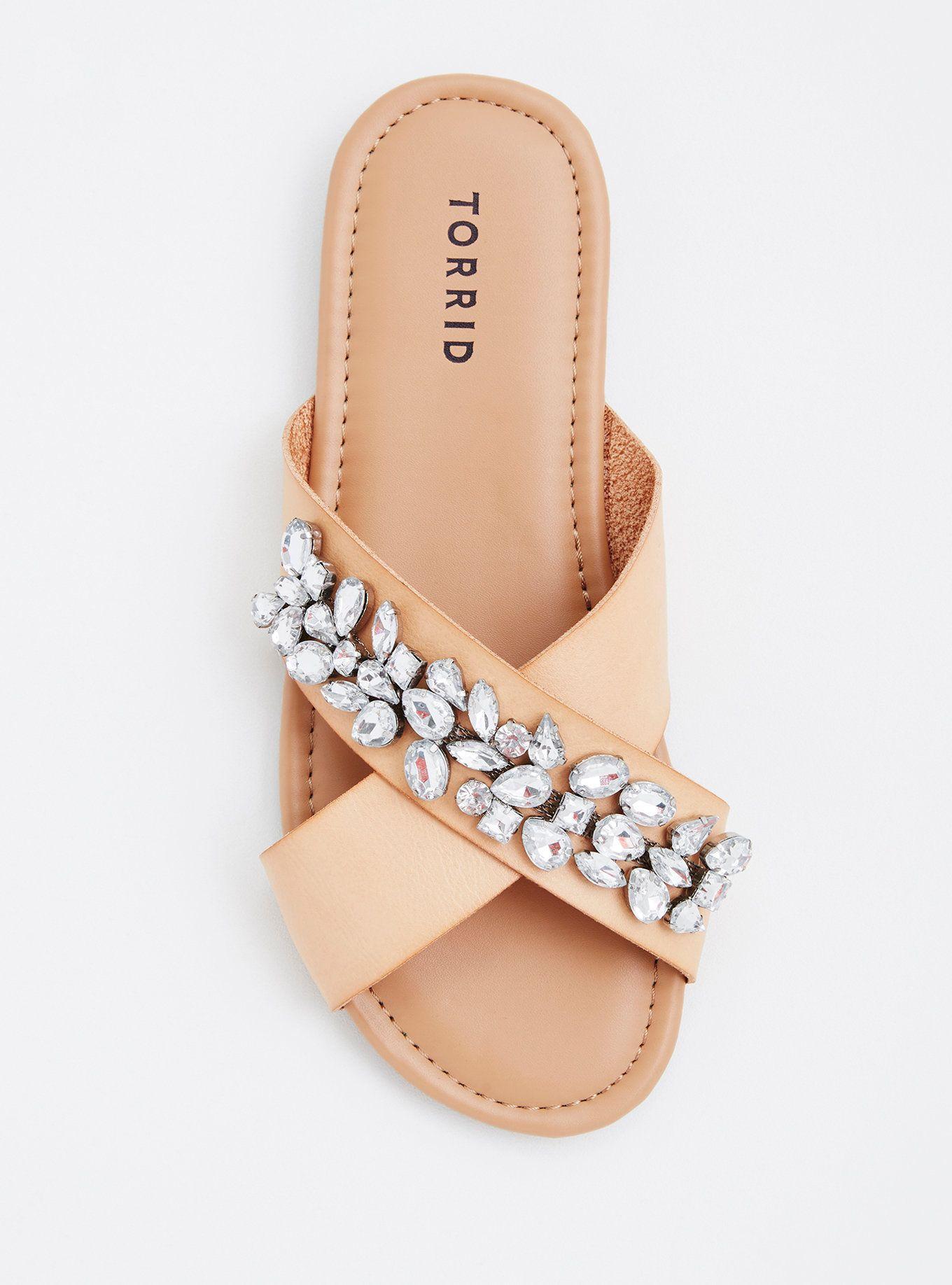Gemstone Crisscross Strap Slide Sandals