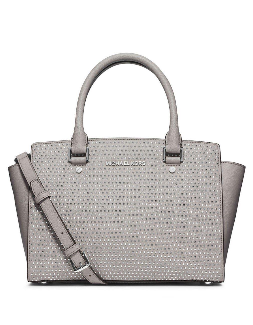 8e6947f8e771 Michael Kors Micro Stud Selma Md Satchel Pearl Grey Leather  Handbags   Amazon.com