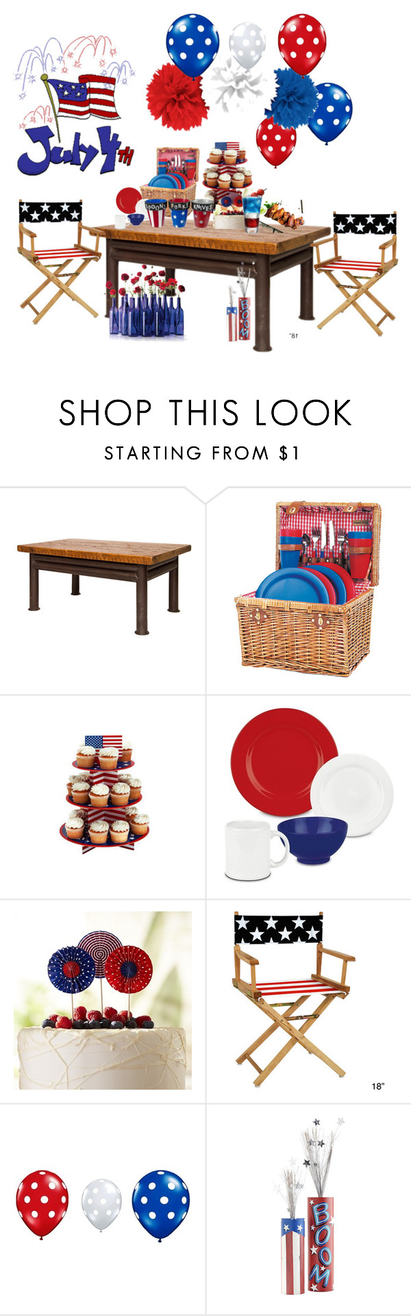 """Red, White, & Blue Tabletop"" by mommastephud ❤ liked on Polyvore featuring interior, interiors, interior design, home, home decor, interior decorating, Picnic Time, Waechtersbach and Pier 1 Imports"
