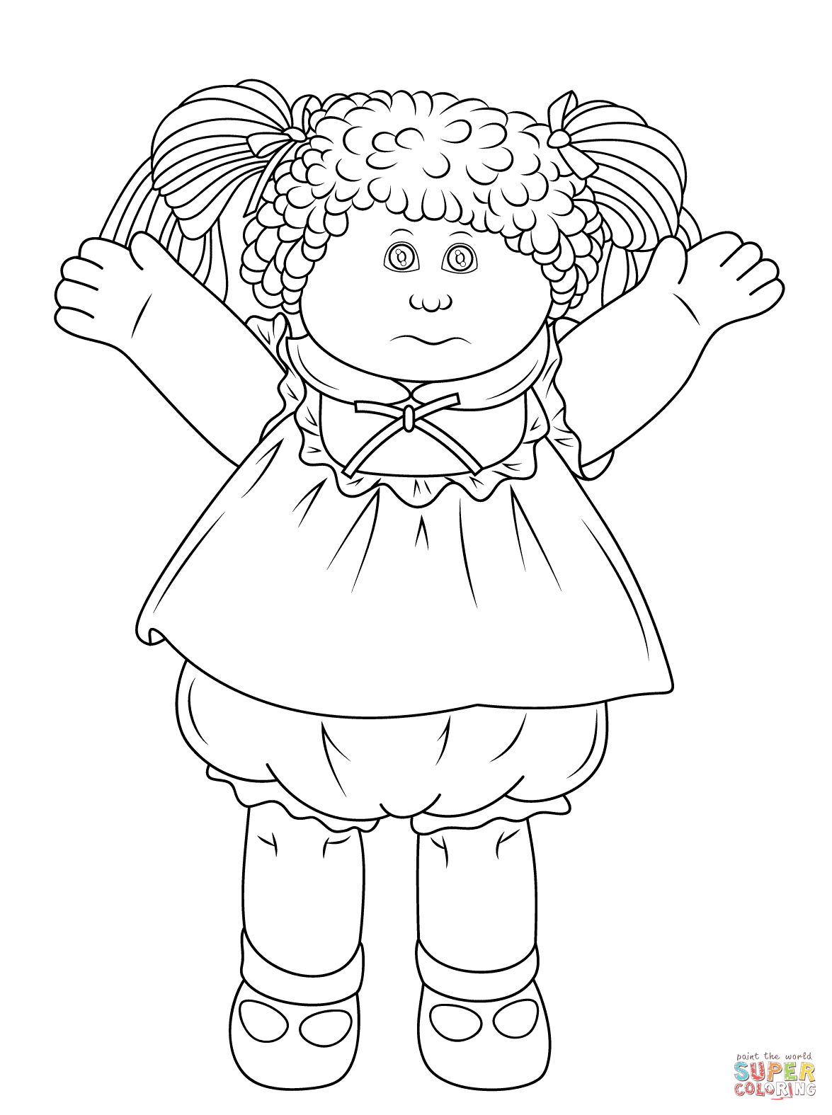 Childrens coloring sheet of a rag doll - Cabbage Patch Doll Coloring Page From Rag Dolls Category Select From 24104 Printable Crafts Of Cartoons Nature Animals Bible And Many More