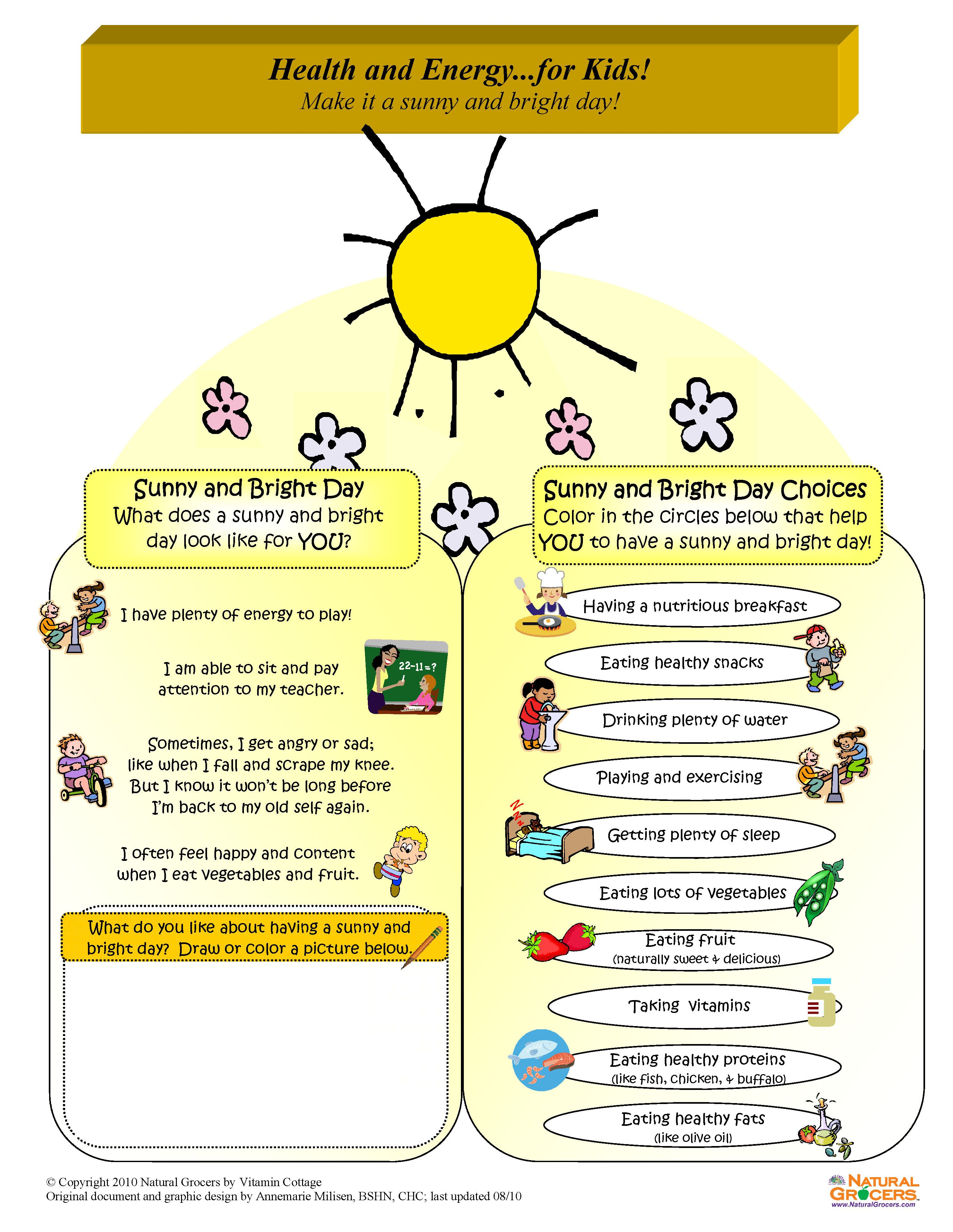 Health And Energy R Kids Use This Discovery List And The Worksheets Below To Find Out What