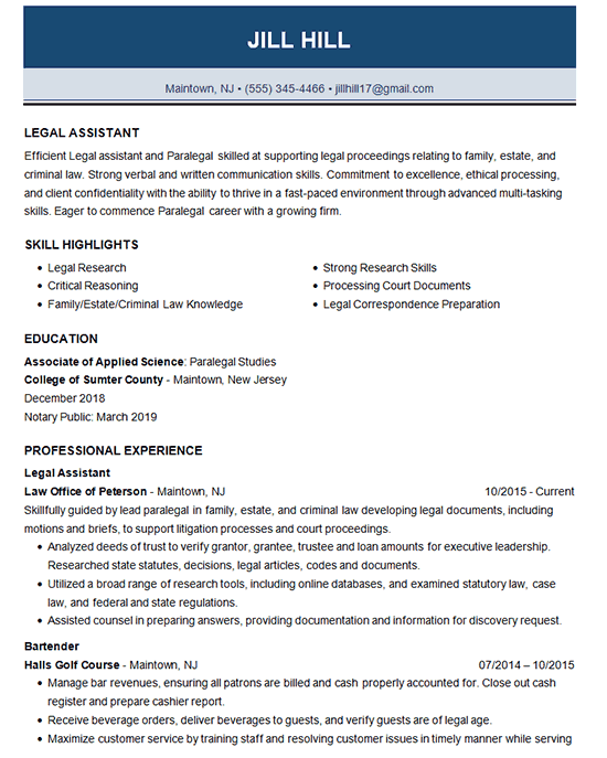 Legal Assistant Resume Examples Job Resume Examples Assistant Jobs