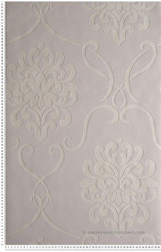 Grand Medaillon Baroque Gris Perle Papier Peint Lutece Home Deco