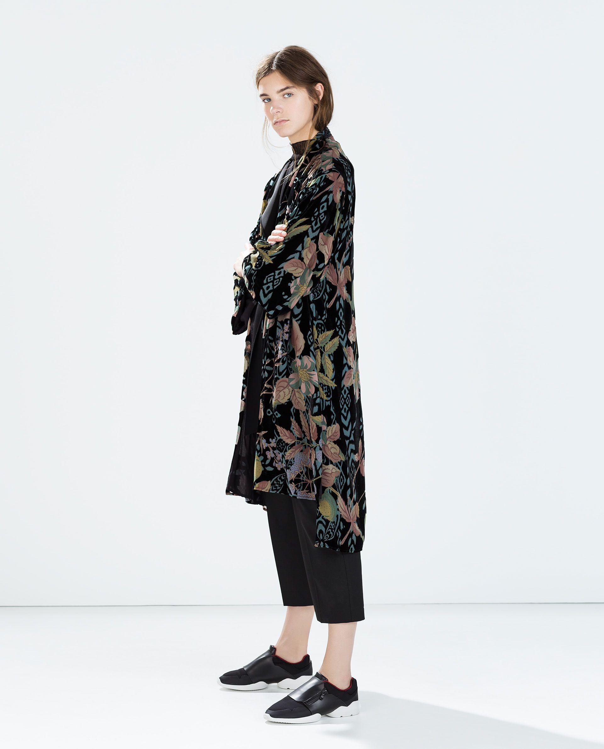 kimono largo terciopelo - abrigos - mujer | zara españa