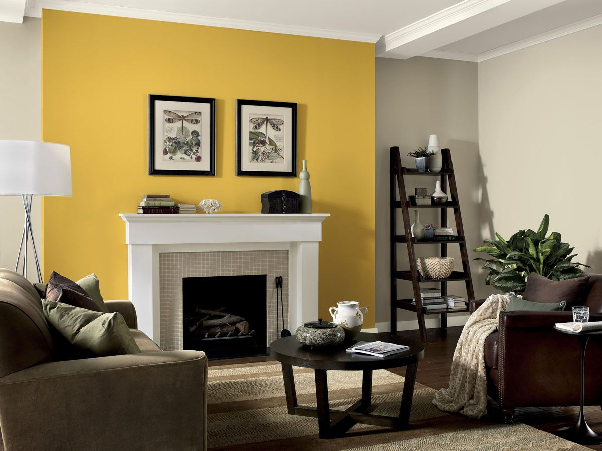 Give a single wall a pop of color to brighten up a room for Living room yellow accents