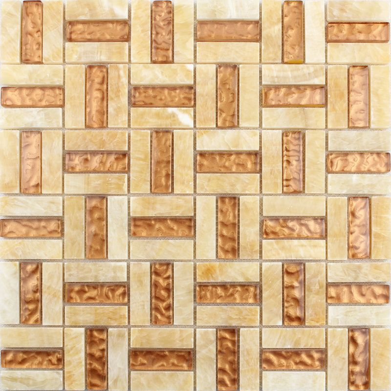 crystal glass tile sheets stone mix glass mosaic T043 strip glass ...