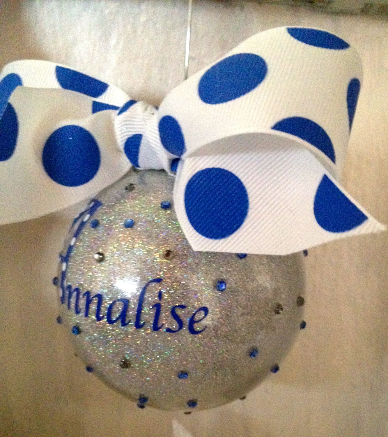 Sparkling personalized ornament with bling by MommasCreations4you, $15.00