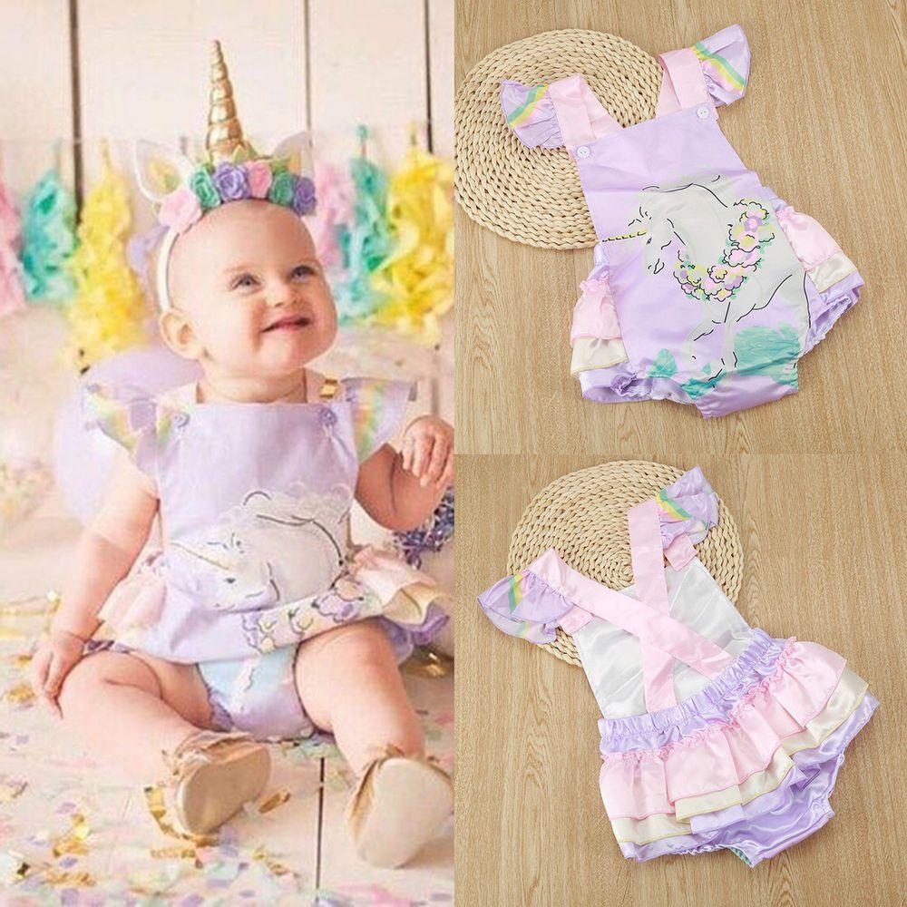 e53ecee535e9 Newborn Infant Baby Girl Unicorn Romper Bodysuit Jumpsuit Outfit Sunsuit  Clothes