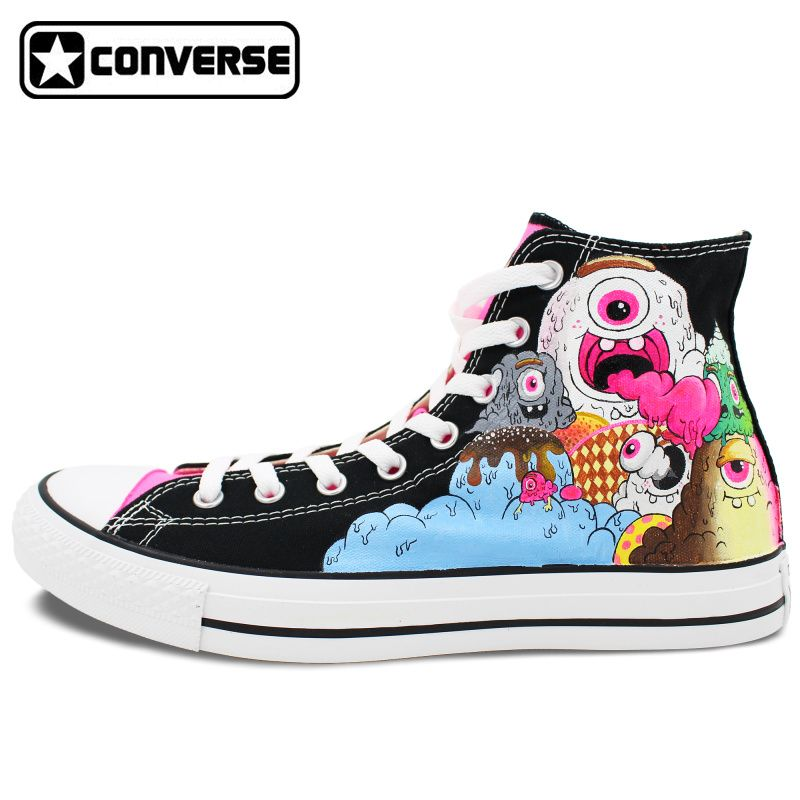 High Top Black Converse All Star Women Men Shoes Ice Cream