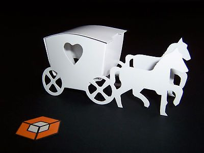 50 HORSE   CARRIAGE WHITE - IVORY- Silver -Black- Pink etc wedding ... 616143df5