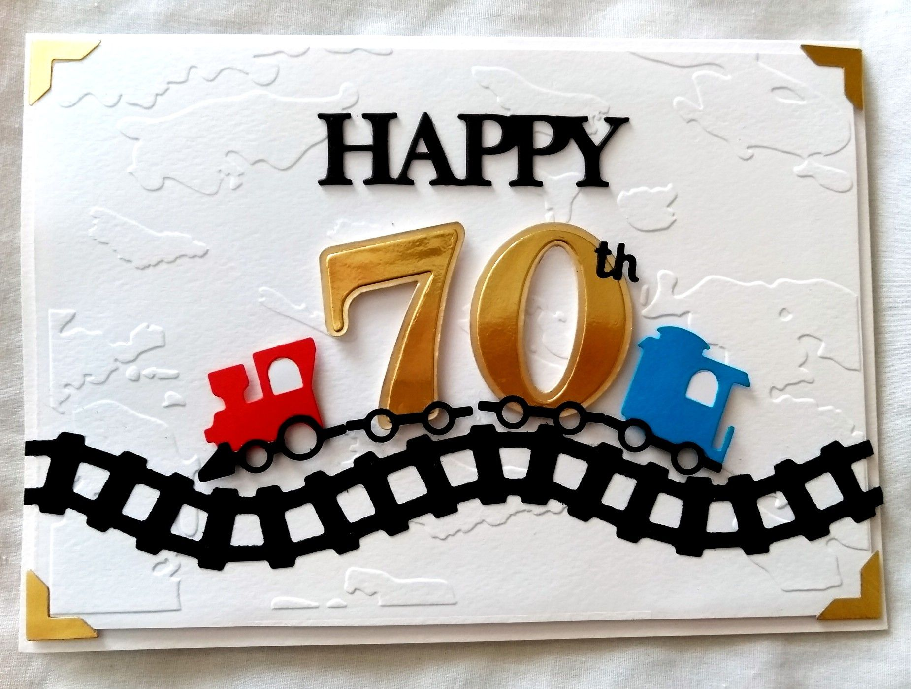 Alan 2018 70th Birthday Card For Train Lover Tattered Lace Happy Birthday Die Papetry Numbers Dies Sizz 70th Birthday Cake 70th Birthday Card 70th Birthday