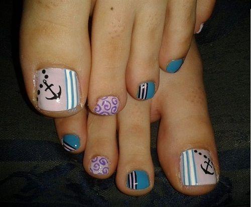 Anchors Toe Nail Designs - 52 Pretty And Cute Toe Nail Designs Nail Love!! Pinterest
