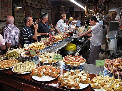 Food bar. One of each, please! Pintxos (Basque tapas). San Sebastián ...