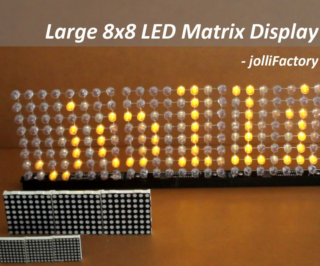 Have you worked with ready-made 8x8 LED matrix as displays? They come in various sizes and are quite interesting to work with. A large readily available size is around 60mm x 60mm. However, if you are looking for a much larger ready-made LED matrix, you may be out of luck.For this project, we will be building a single color large LED matrix display which is made up of a few large 8x8 LED matrix modules daisy-chained together. Each of these 8x8 LED matrix modules is around 144mm x 144mm in…