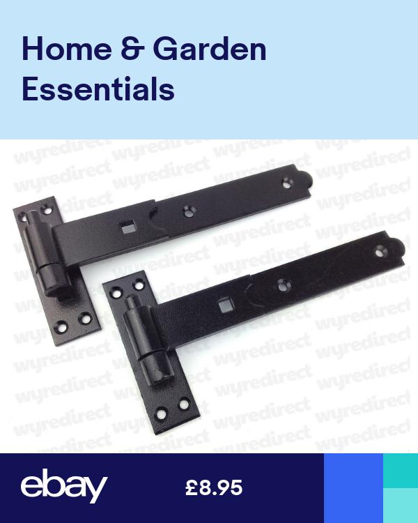 Gate Hinges Straight 250mm 10 Pair Black Heavy Duty Hook