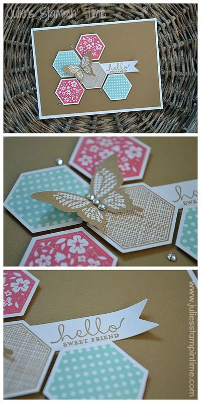 handmade hexagon card ... like the desing and colors ... sweet butterfly punch on top ... Stampin' Up!