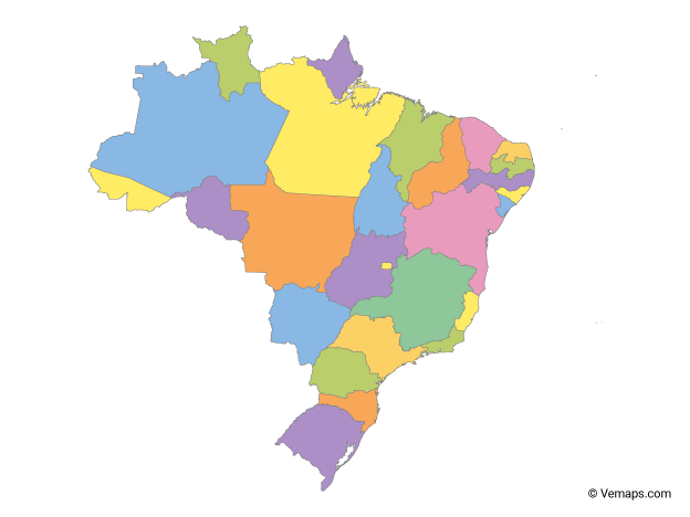 Map Of Brazil With Neighbouring Countries Free Vector Maps Map Map Vector Brazil Map