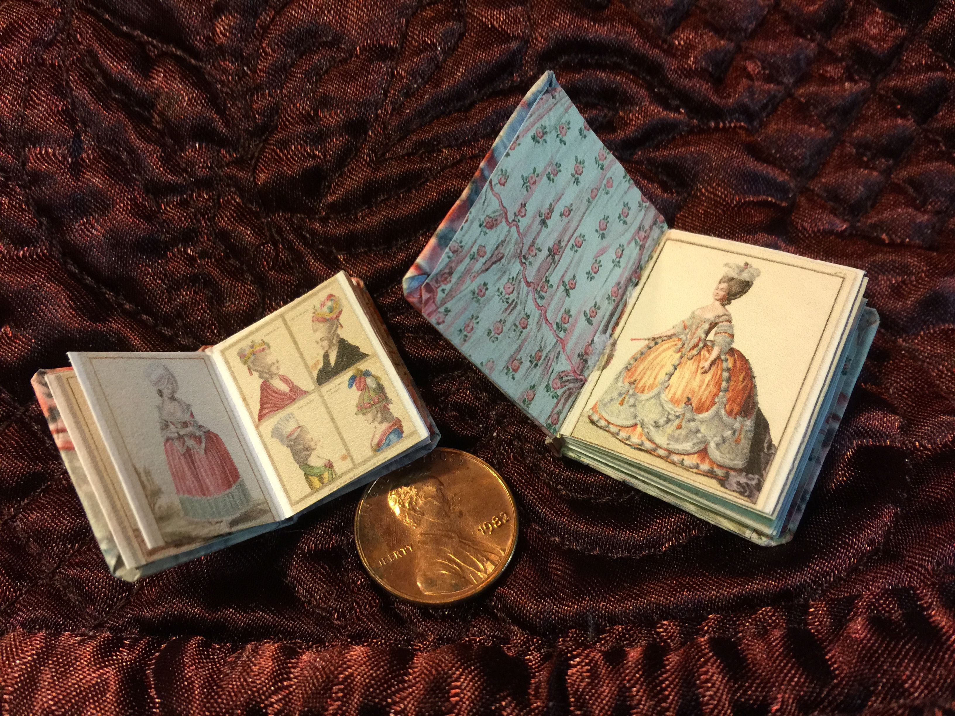 """Images of my finished 1770s French Fashion free mini-book printie.  you can scale the template down to 1/2 size to make the 1"""" book on left."""