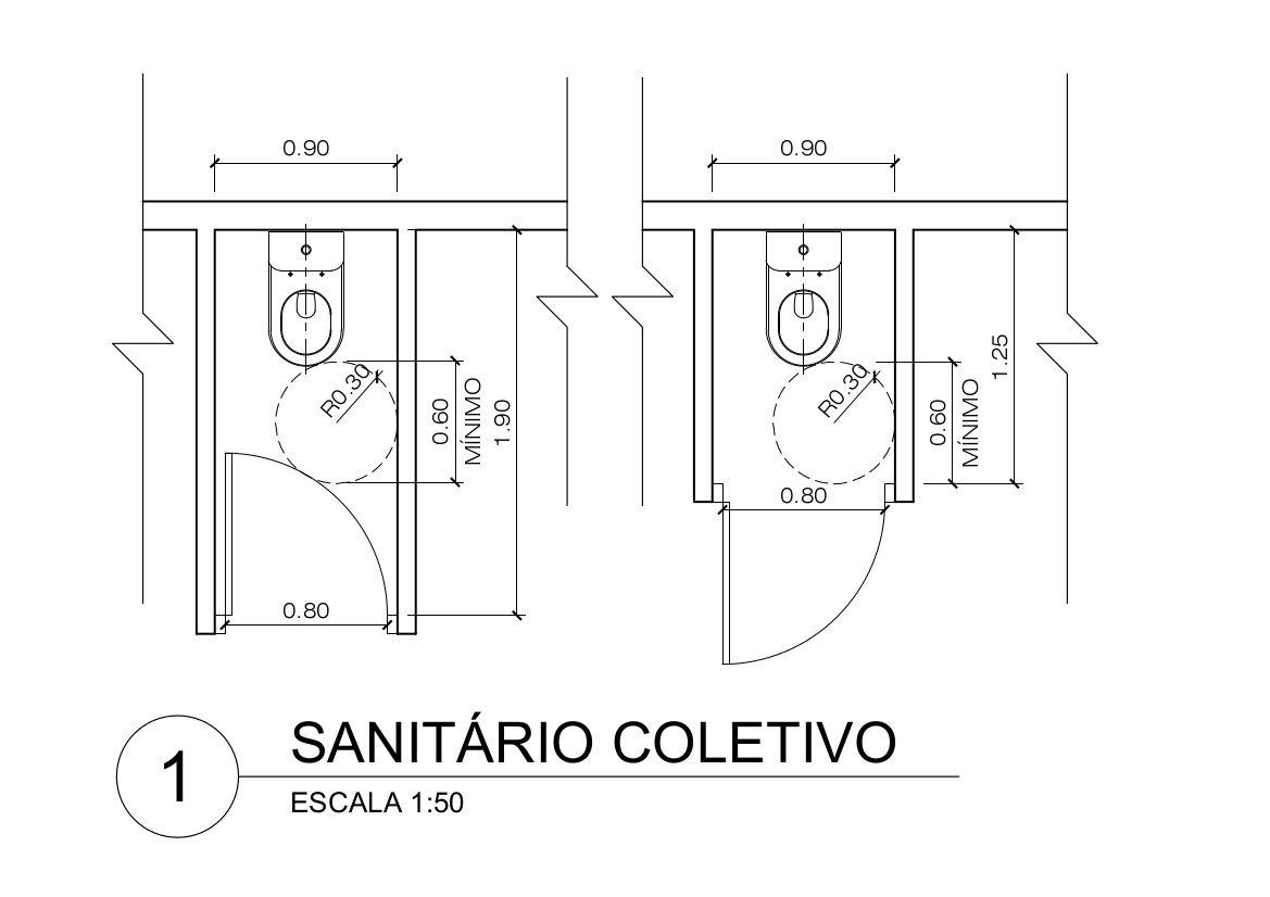 Salle De Bain Pmr Plan ~ dimens es m nimas de ambientes exemplos de sanit rio coletivo para