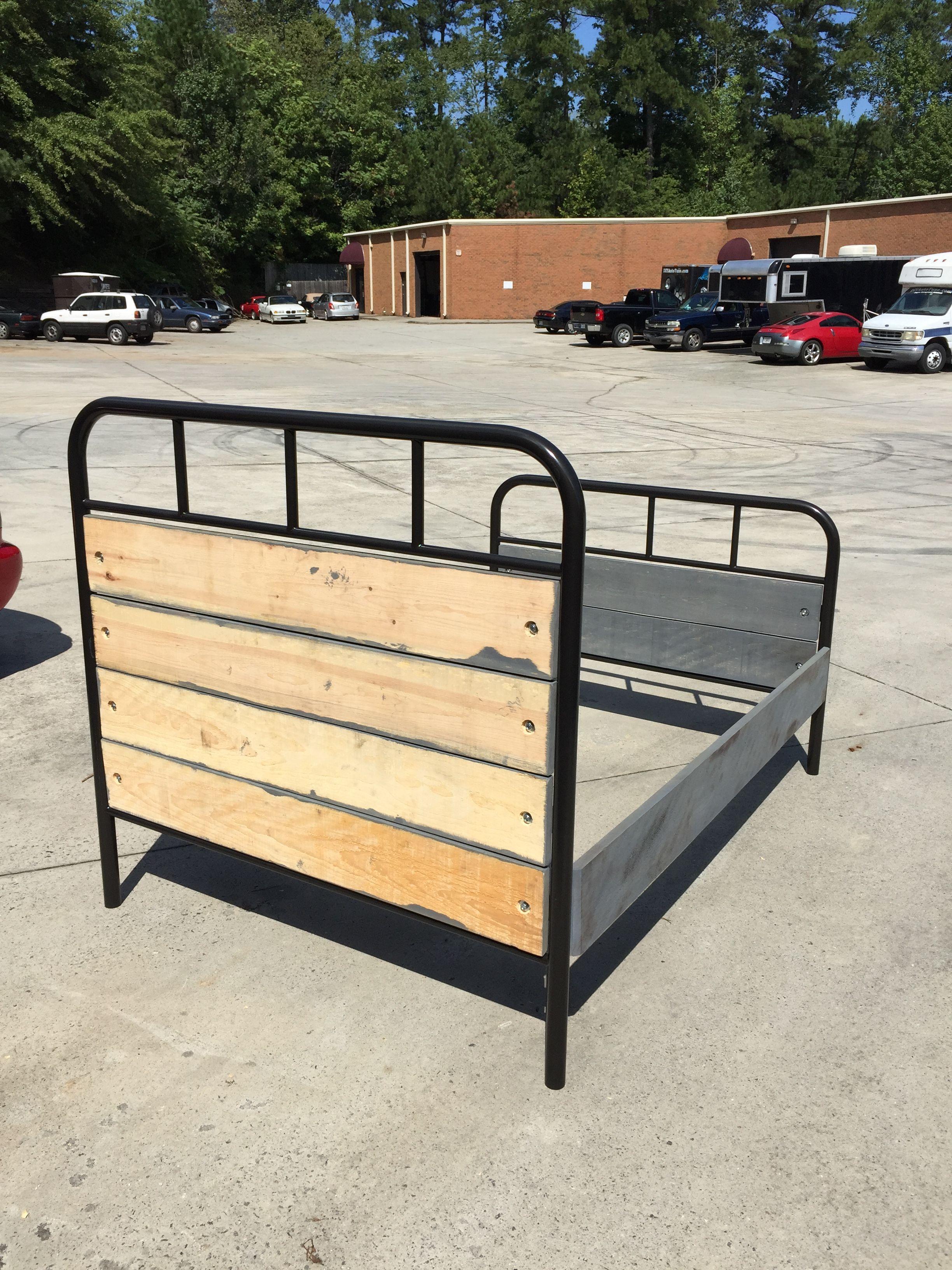 Custom Metal/Wood Bed Frame with hammertone black metal