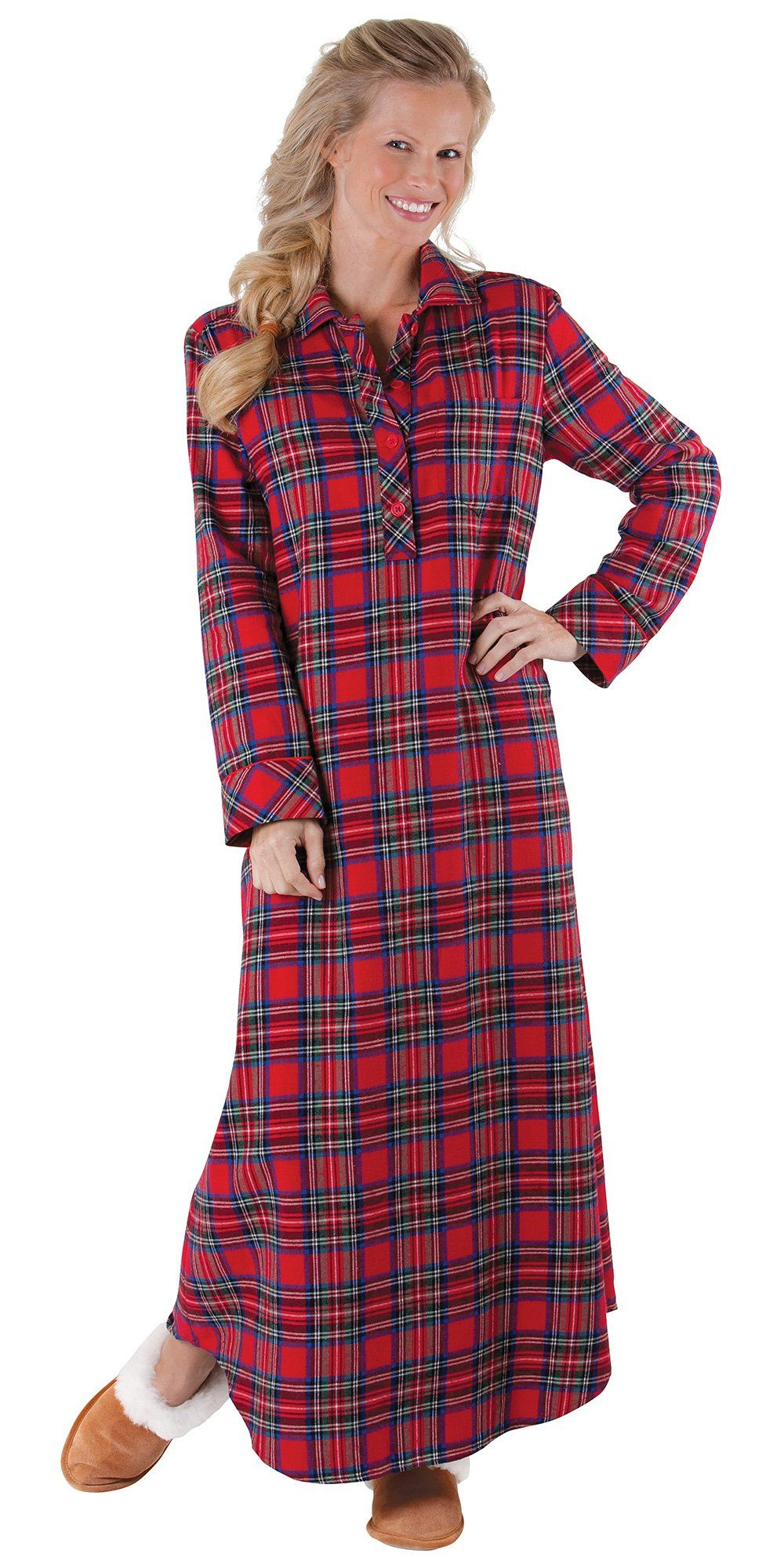 Classic Red Plaid Cotton Flannel Nightgown for Women at