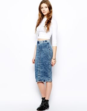 Pull&Bear Acid Wash Denim Skirt on asos. Love! | Fashion board ...
