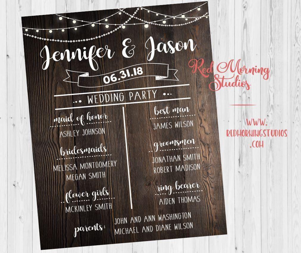 Bridal party program rustic wedding sign poster
