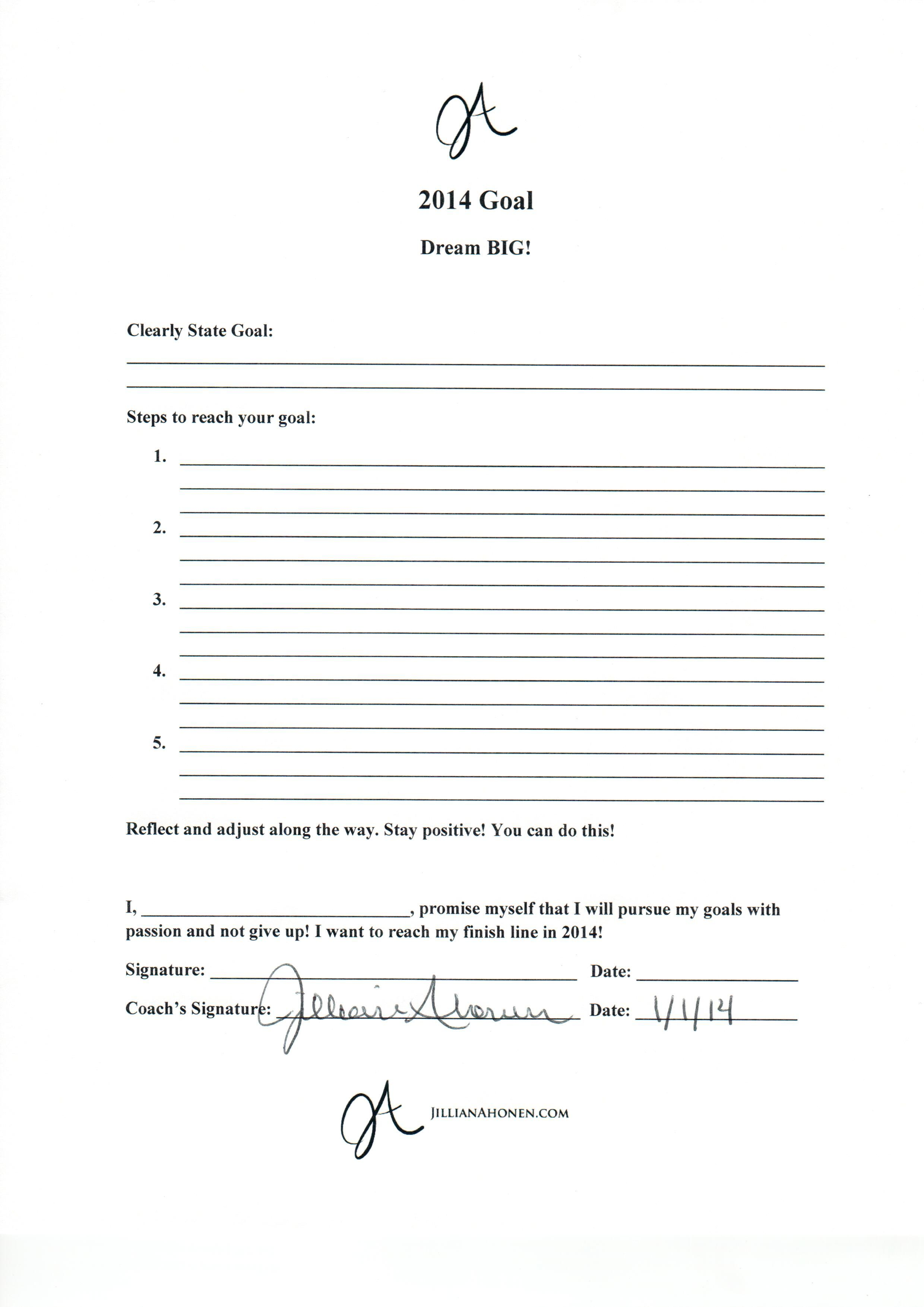 Free Printable Goal Setting Guide For Dream Big