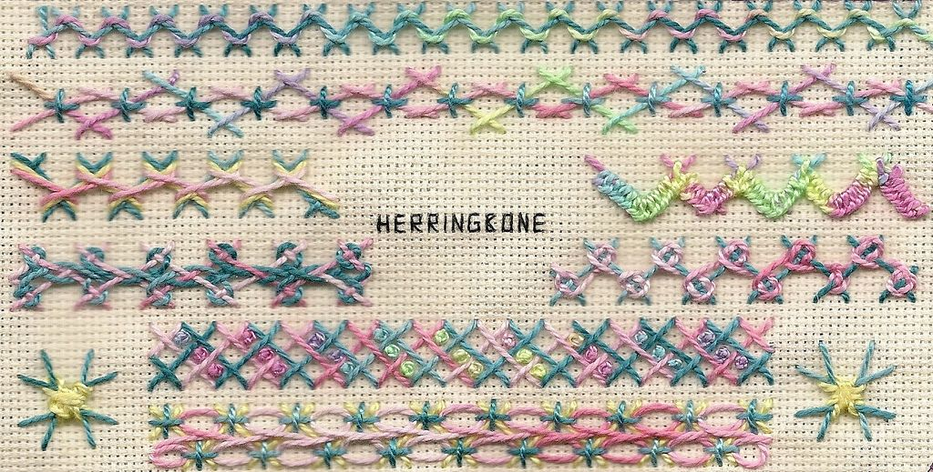 TAST 2012 Week 5 Herringbone | by stitchintime posted on Flickr by Gayle Schipper