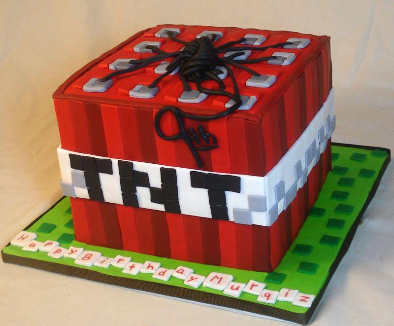Minecraft TNT block; all fondant 3D/shaped cakes